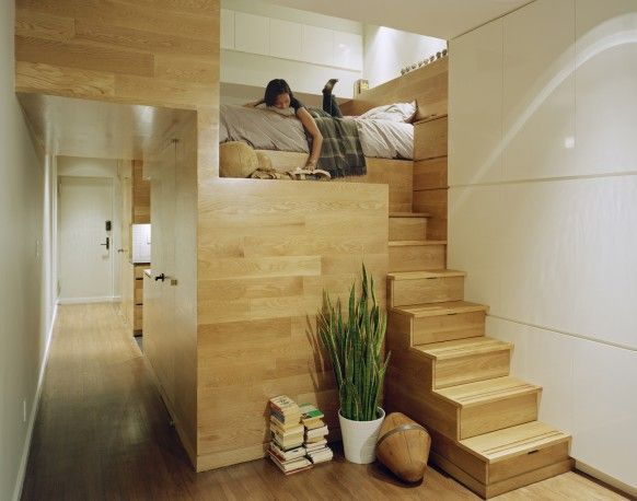 Built-in loft bed with storage stairs.Small Apartments, Ideas, Reading Nooks, East Village, Bedrooms, Studios Apartments, Small Spaces, Loft Beds, Apartments Design