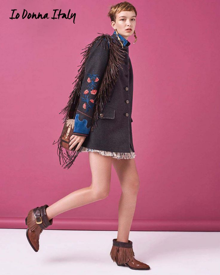 Fancy florals and western fringe. The Fay floral coat as seen in IO DONNA.
