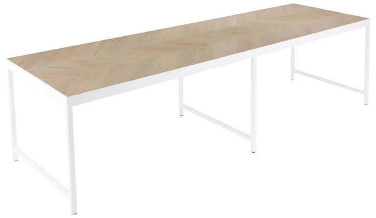 San Francisco Sand Wood and White Stainless Steel Dining Table - OUT OF STOCK