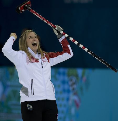 Team Canada skip Jennifer Jones. Gold Medal Game. Sochi 2014.