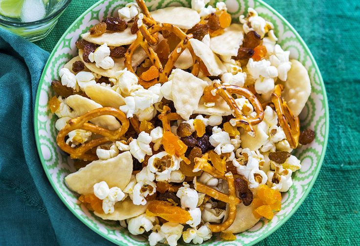 When you're after something to pick at but don't want to snack on anything too high in fat, this mix is great. With popcorn, pretzels, dried fruit and crackers.
