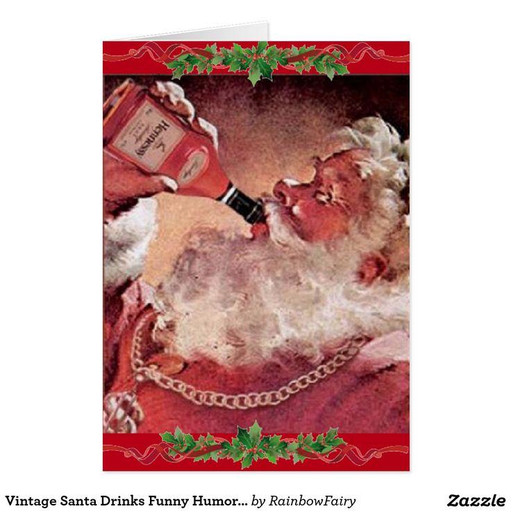 Vintage Santa Drinks Funny Humor Christmas Card