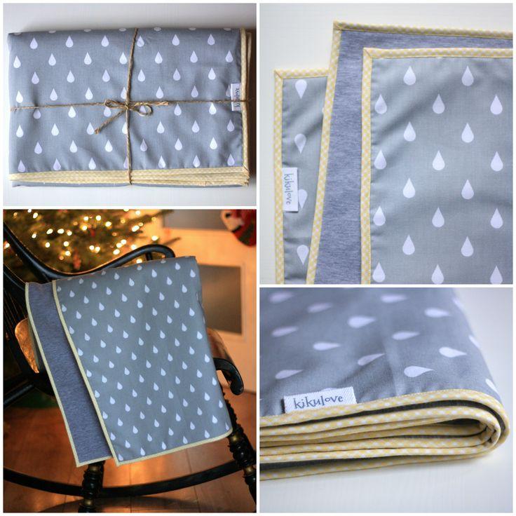 grey drops baby blanket handmade