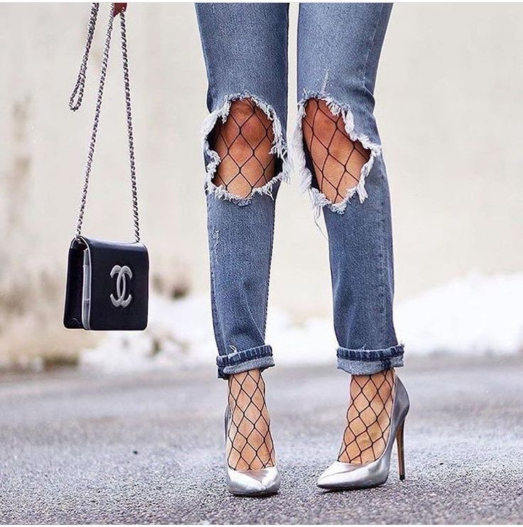 The jeans the heels the fish nets... love love love. M