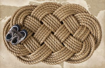Nautical Braided Rope Welcome Mat, Large by The Landlocked Sailor contemporary doormats