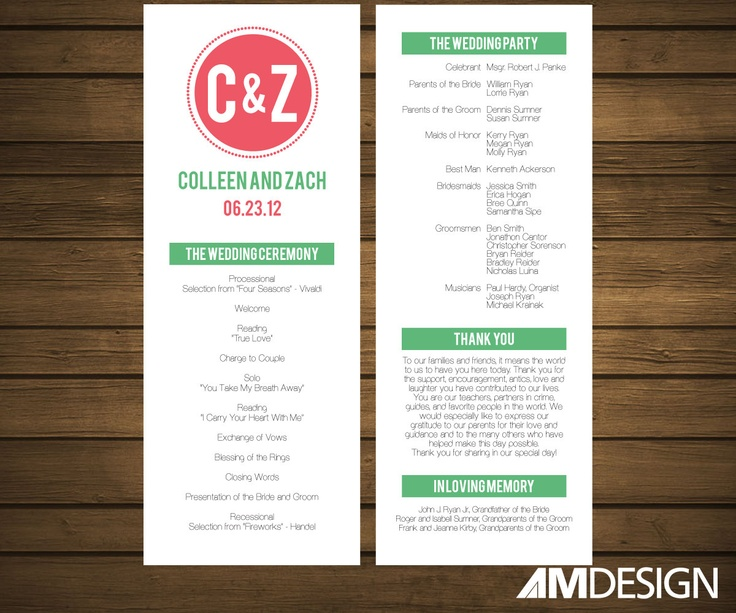 Printable Wedding Program Simple Modern 2500 Via Etsy