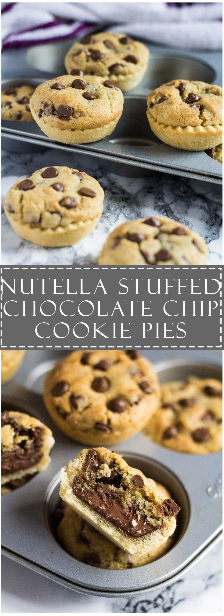 #Nutella Stuffed Chocolate Chip #Cookie #Pies | Marsha's Baking Addiction !awesome!!