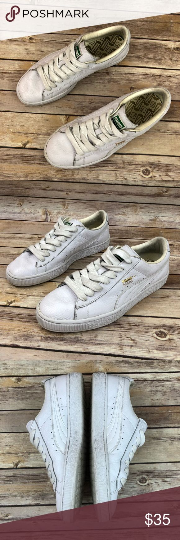 Puma Basket classic white sneakers Classic white puma basket sneakers. Preloved? Shows signs of normal wear. Please refer to photos. Puma Shoes Athletic Shoes