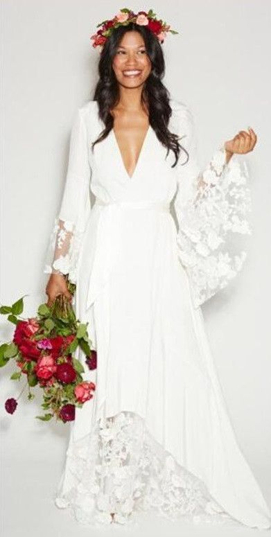 Chiffon Bohemian Wedding Dress with Plunging V Neckline and Full Flared Sleeves