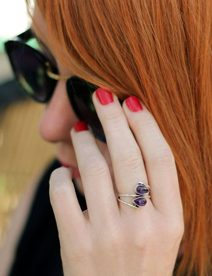 Ring with amethyst, ring with violet stone, woman's ring, unique ring, cute ring, ring beautiful, small ring, metal ring, midi ring by CurryMoon on Etsy