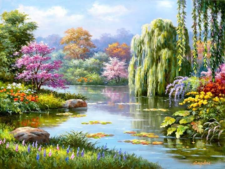 Lovely!!!  ~ this is a painting by a (JW) brother in our local Korean Congregation  ~ Sung Kim -- His impressions of Paradise.