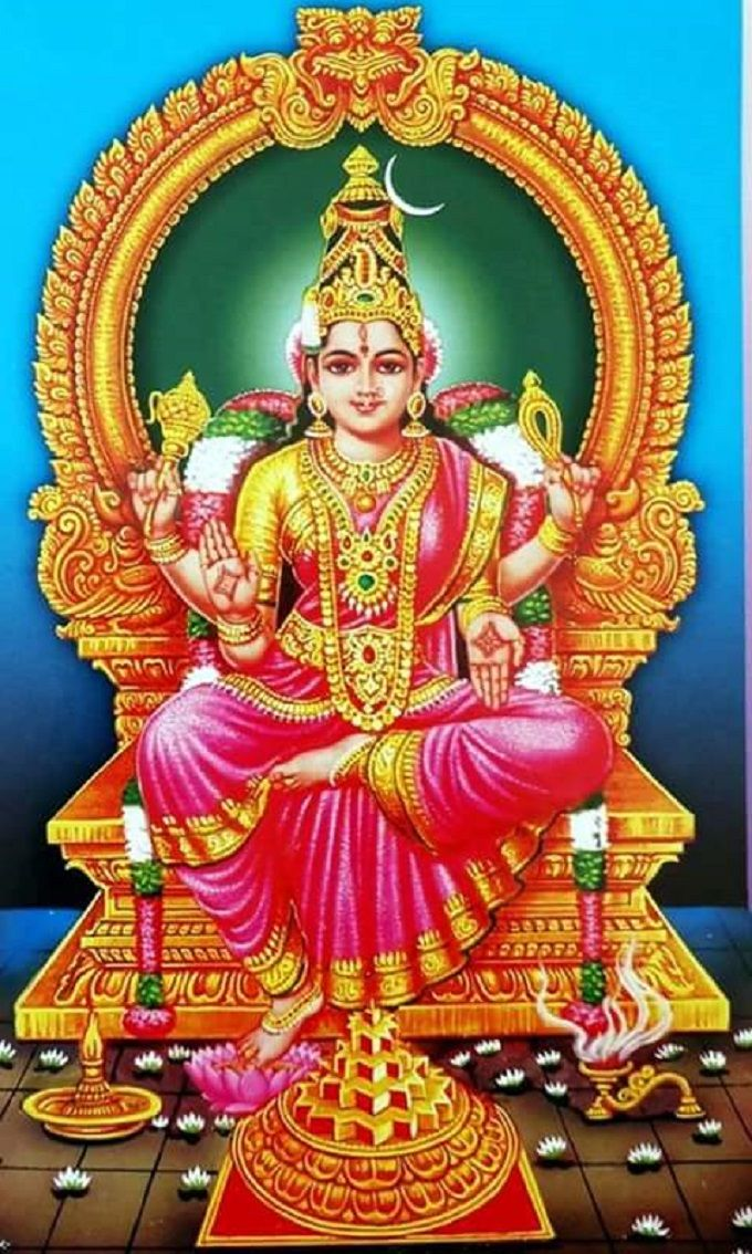 Bhuvaneshwari The Mahavidya That Satisfies All Wishes She Has All The Conceivable Noble Qualities That Human Mi Durga Goddess Hindu Gods Tanjore Painting