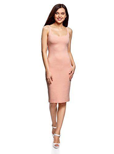cb7f16bb562 oodji Ultra Femme Robe Débardeur en Maille Rose FR 44   XL