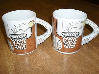 Set of 2 #ceramic #basketball players #coffee mugs with arm handle over #basket ,  View more on the LINK: 	http://www.zeppy.io/product/gb/2/160682437078/