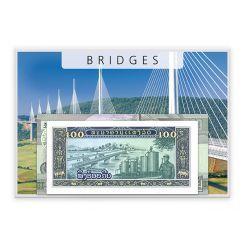 Γέφυρες - 5 Χαρτονομίσματα από όλον τον κόσμο!!Η Μοναδική Συλλογή Χαρτονομισμάτων από διάφορες χώρες του κόσμου με θέμα πέντε διάσημες γέφυρες του κόσμου. Περιλαμβάνει τα ακόλουθα 5 χαρτονομίσματα: 10 Ρούβλια, Γέφυρα πάνω από τον ποταμό Γενισέι, Ρωσία 20 Μπατ, Γέφυρα του Ράμα ΙΧ, Ταϊλάνδη  100 Κίπ, Γέφυρα Πάξε, Λάος 500 Ριέλς, Γέφυρα στο Κάμπονγκ Χάν, Καμπότζη 500 Γουόν, Γέφυρα της Φιλίας, Βόρεια Κορέα