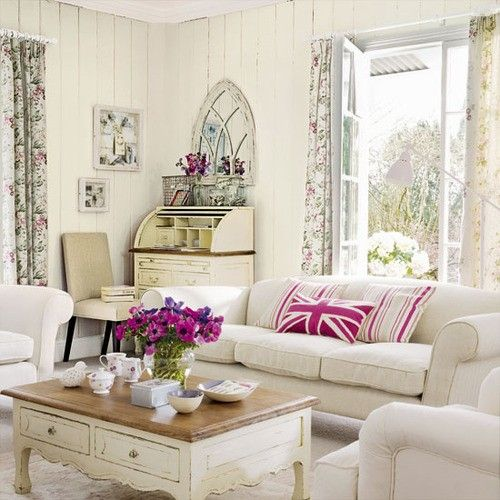 Shabby chic living room love the old writing desk like my Grandma Rubys
