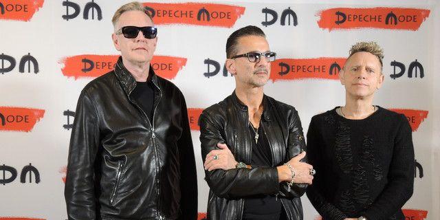 Andrew Fletcher, Dave Gahan et Martin Gore de Depeche Mode à Milan, pour annoncer leur nouvel album et une tournée (11 octobre 2016)