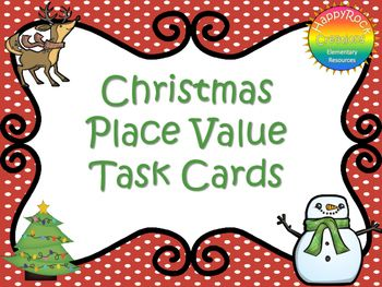 These holiday themed place value task cards are ideal for reviewing concepts such as ones, tens and hundreds, expanded form, comparing numbers and rounding.  This package includes 20 task cards, 3 digit number cards, answer sheet and teacher instructions.