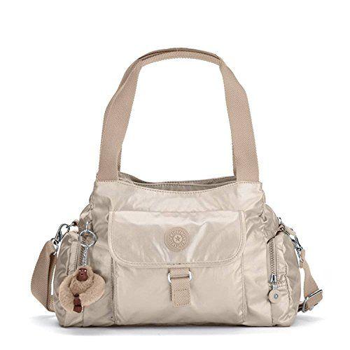 Kipling Womens Felix Large Metallic Handbag Golden Rod Metallic