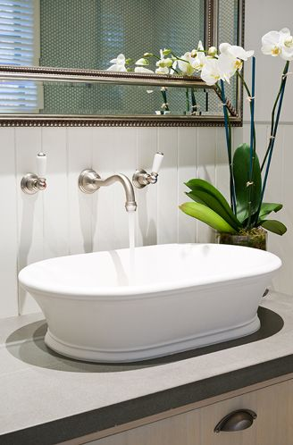 ROHL Perrin & Rowe wall mounted basin tap in Pewter #PowderRoom #Inspiration
