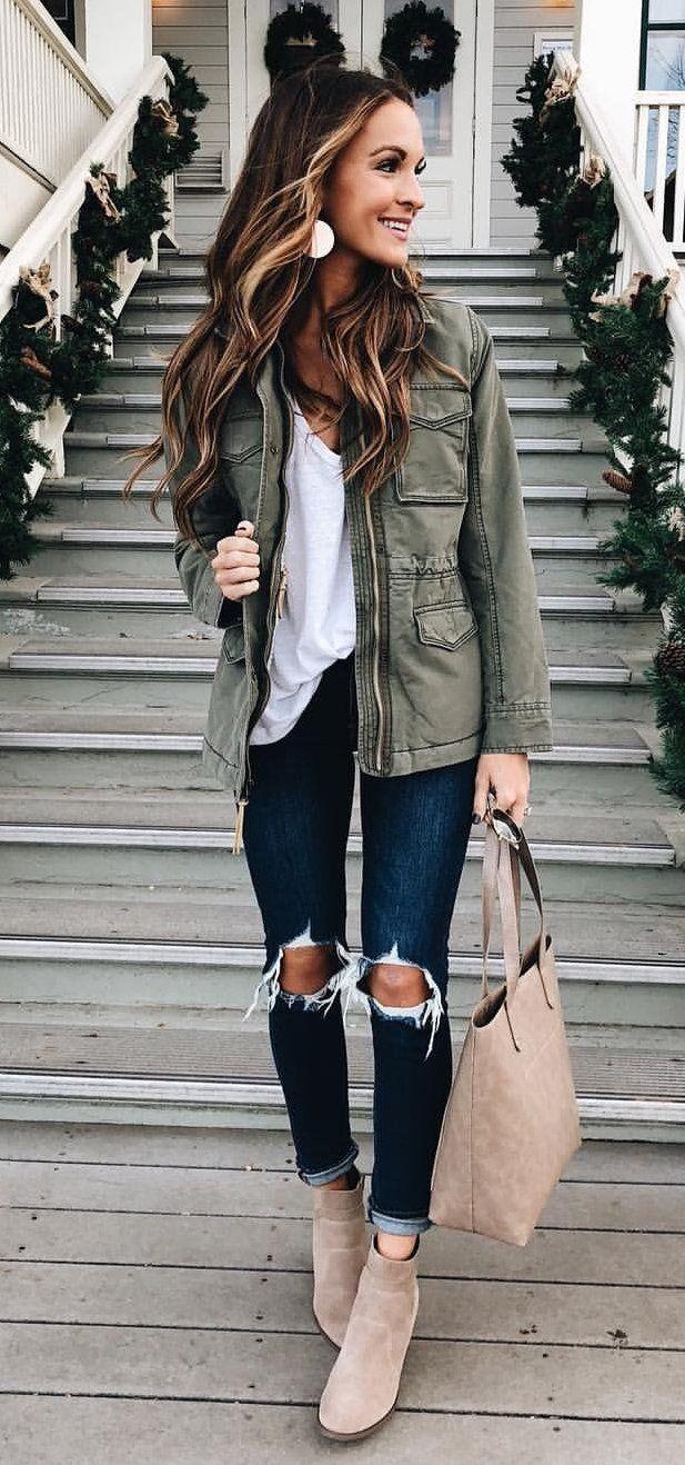 #winter #outfits women's grey denim zip-up jacket. Click ...