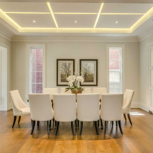 Residential architecture by Toronto architect, Lorne Rose. These images are of a property in the Forest Hill neighbourhood of Toronto. #architecture #toronto #luxury #home #renovation #residentialarchitect #architect #modern #foresthill #interior #design #decoration #interiordesign #interiordecorating #diningroom #dinnertable #chairs #table #wood #white #light #lighting