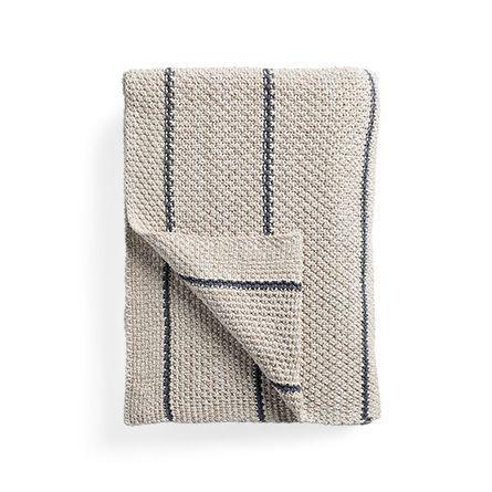 Cotton Knit Baisley Stripe Throw