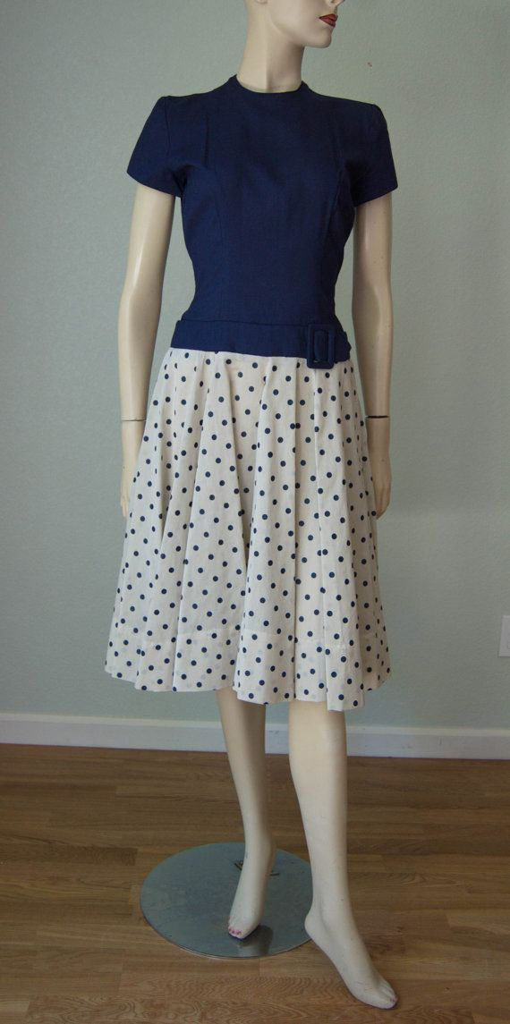 1950s New without Tag - Adorable Cotton Organdy Curvy Day - Office - Going out to Lunch Dress // Navy and Cream - Put on Your Red Shoes