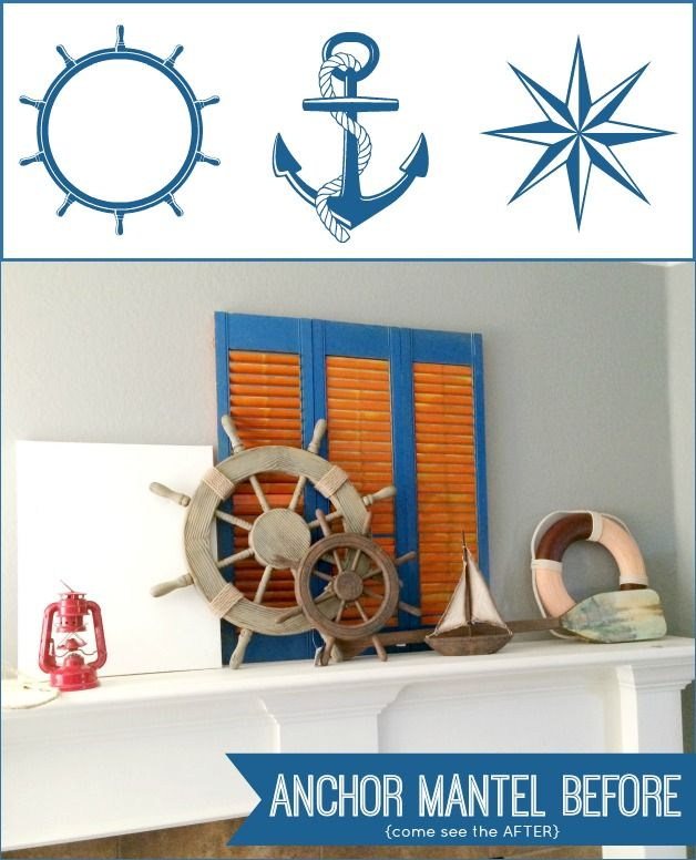 Nautical Inspired Summer Mantel with free printable on Capturing-Joy.com