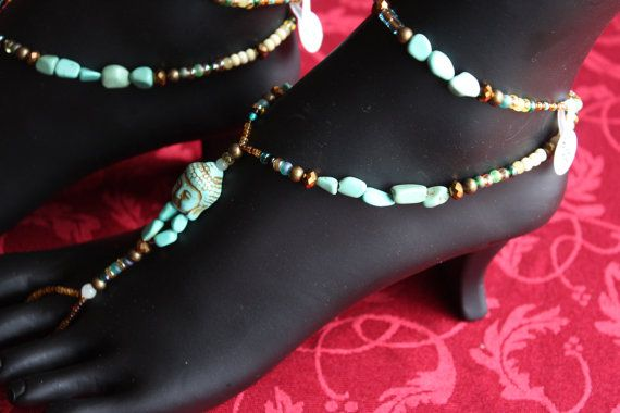 Just Gem-it handcrafted jewelry. Turquoise Buddha bare foot sandle