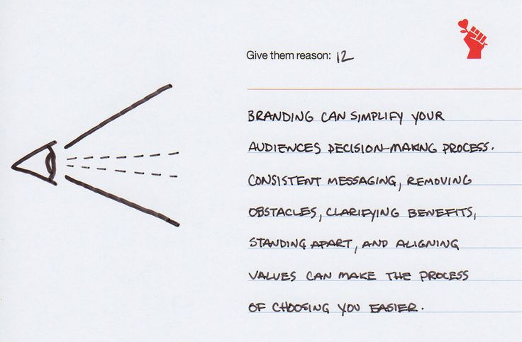 Brand Note 12: Banding Increases Focus Branding can simplify your audiences decision-making process. Consistent messaging, removing obstacles, clarifying benefits, standing apart, and aligning values can make the process of choosing you easier.