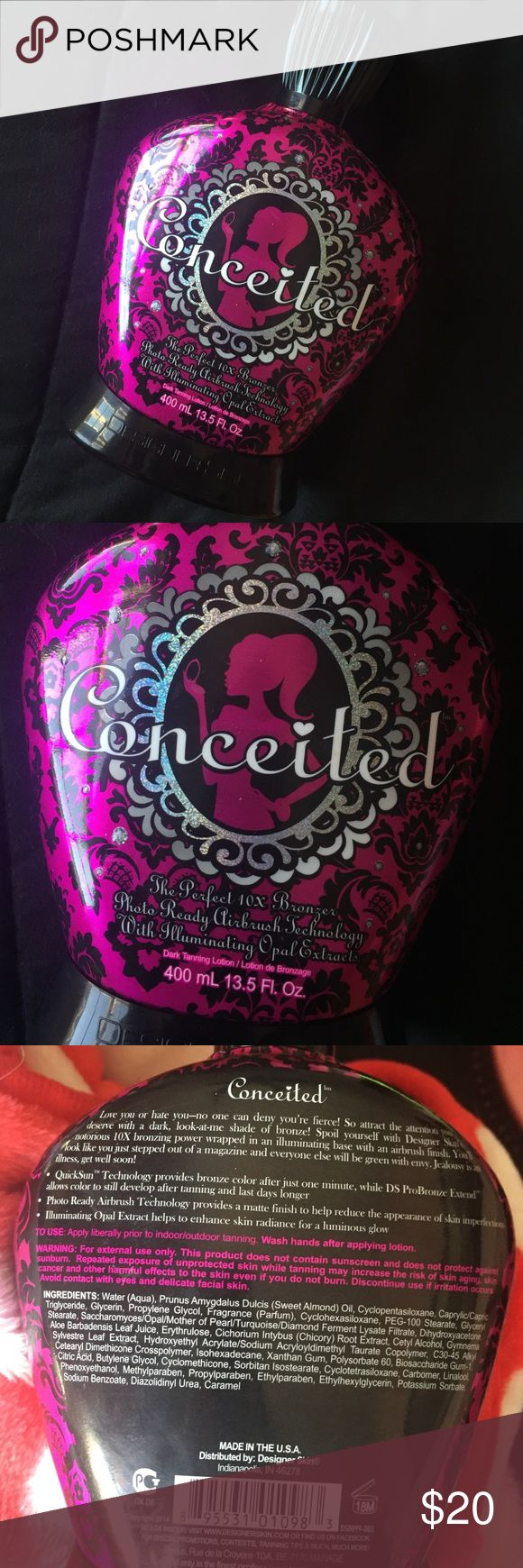 Conceited by designer skin tanning lotion 10x bronzer. Silicone based, so super lightweight and spreadable! Smells super yummy like green apples. Gives you a matte finish to blur away imperfections. designer skin Other