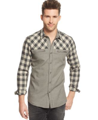 GUESS Harrison Mixed-Checked Shirt | macys.com