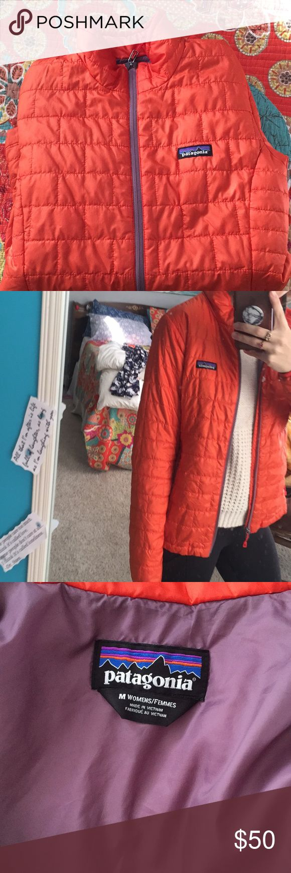 Patagonia puffer Women's M Orange (older color) Women's puffer from Patagonia. Has been worn but is in great condition minus one snag along the zipper seam however it is fixable. Overall no other wear and tear. I typically wear a small but this fits great for extra room underneath! Patagonia Jackets & Coats Puffers