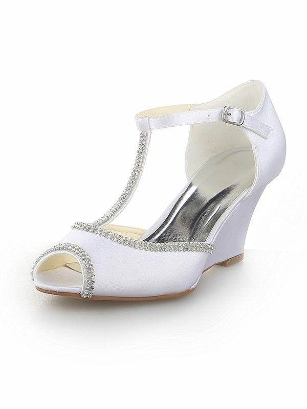 Frauen Peep Toe T-Riemen mit Kunstdiamant Satin Keil Absatz Hochzeit Schuhe