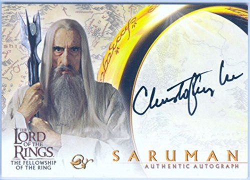Lord Of The Rings FotR Autograph Card Christopher Lee As Saruman Black Variant @ niftywarehouse.com