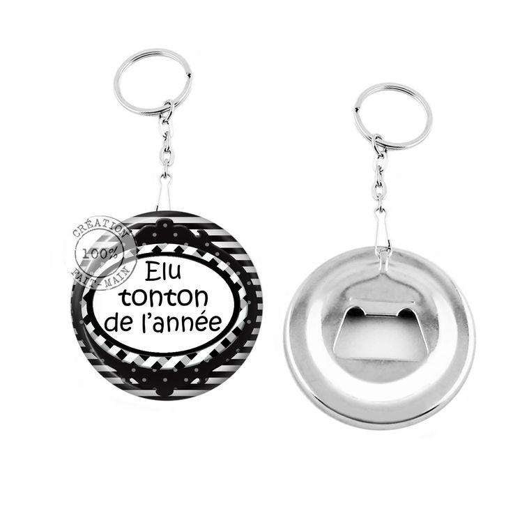 Porte clé décapsuleur / cadeau elu tonton de l'année : Porte clés par bijoux-martika-creation