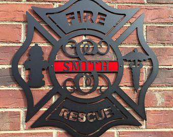 Maltese Cross, Firefighter, Monogram Door Hanger, Personalized Gift, Monogrammed Gift, Firefighter gift, Wall Decor, Firefighter decor
