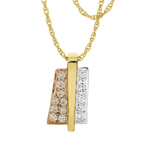 Beautifully designed 9ct 3 Tone 0.25ct Diamond Pendant. Matching Earrings available at Showcase Jewellers.