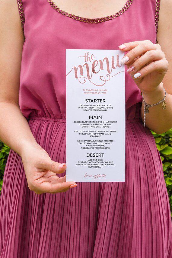 menu wedding menu menu card rose gold printable wedding menu