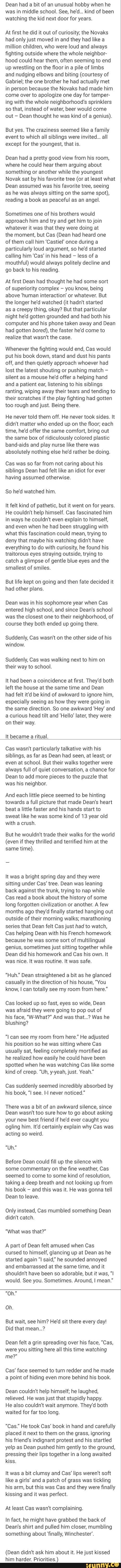 I dont know who wrote this. But OMG is soooo sweet ♡ I kinda melt reading it. #destielfluff