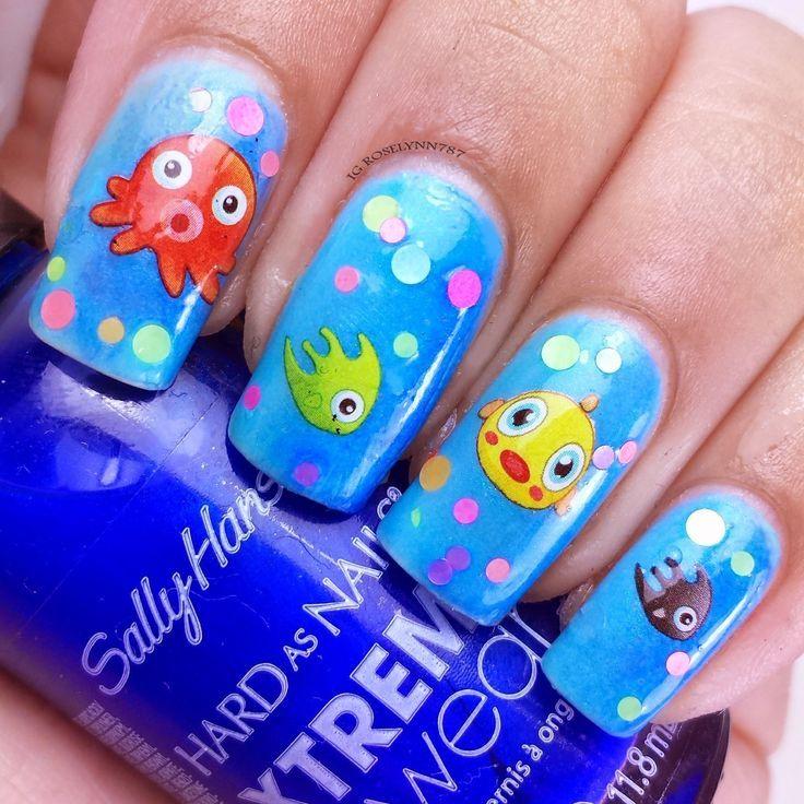 Little fish nails - Pequeños peces en las uñas - Uñas para niñas