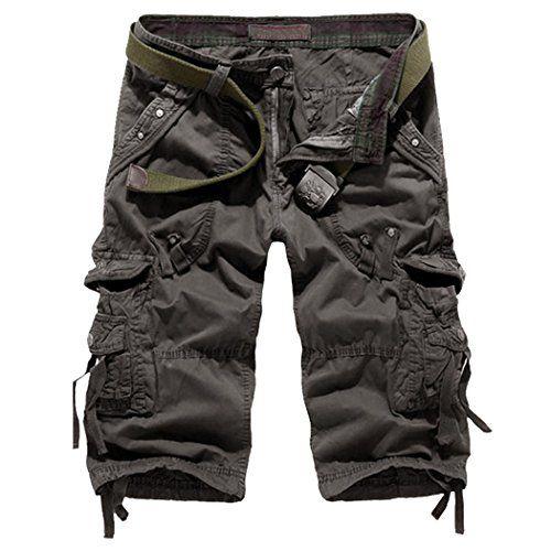 Leward Mens Casual Slim Fit Retro Cotton Solid Multi-Pocket Cargo Capri  Camouflage Shorts (