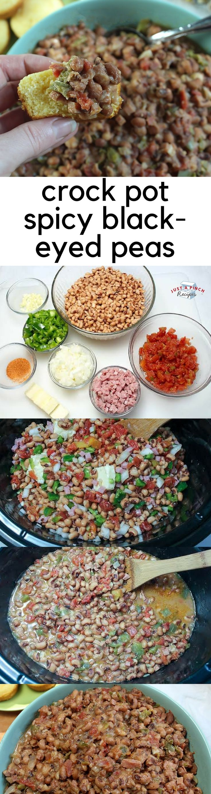 Crock pot black-eyed peas recipe is a must-make for New Year's Day! #crockpot #crockpotrecipes #blackeyedpeas #newyearsrecipes
