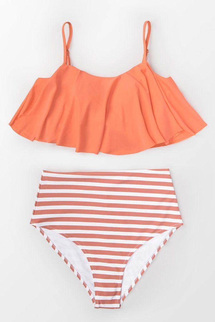 Orange Volant Und Streifen Bikini Striped Bikini Floral Bikini