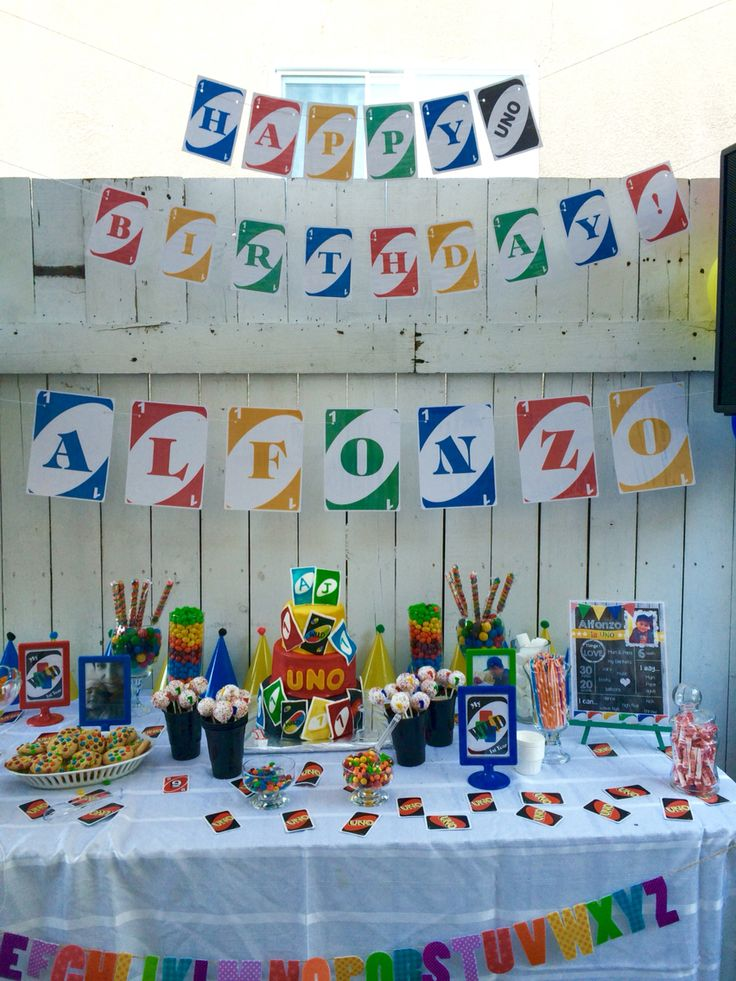 UNO party/ happy birthday banner/ candy bar/ cake table