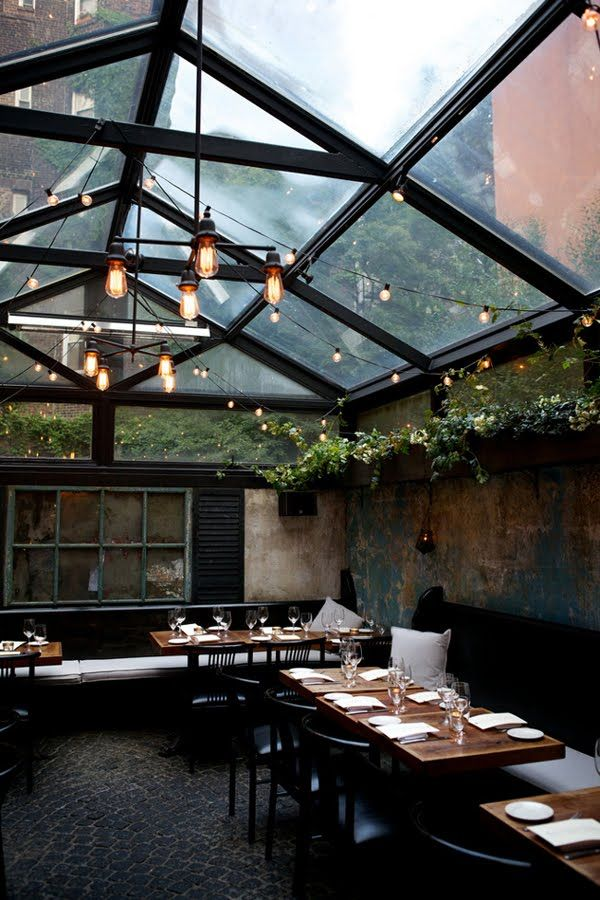 yard idea!: Dining Rooms, Green Houses, Spaces, Idea, Glasses Ceilings, Indoor Outdoor, Greenhouses, New York, Restaurant