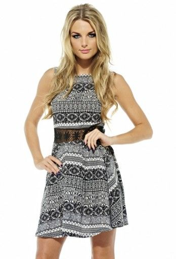 Crochet Aztec Fit and Flare Dress
