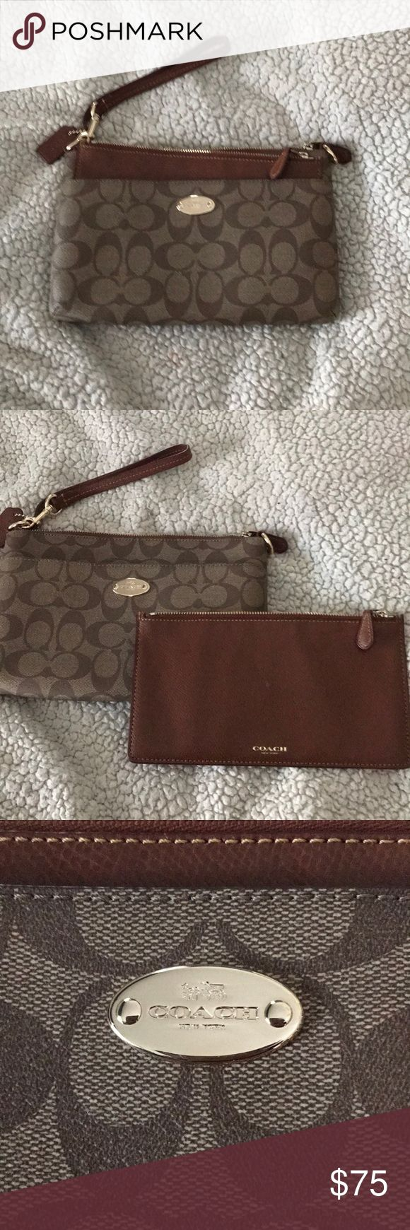 Coach Clutch Practically new coach clutch, used once or twice in great condition!!!! Removable pouch included! MAKE AN OFFER!!!! Coach Bags Clutches & Wristlets