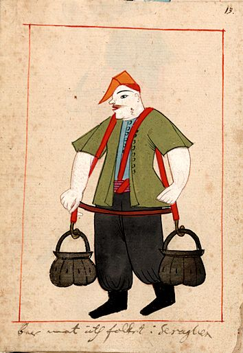 "Rålamb Costume Book 13 ""He carries food to the people of the Serail""  ""bär mat åth folket i Seraglien"""